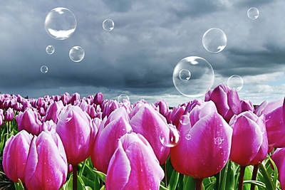Digital Art - Purple Tulips And Soap Bubbles by Mihaela Pater
