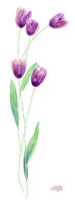 Purple Tulips Art Print by Arline Wagner