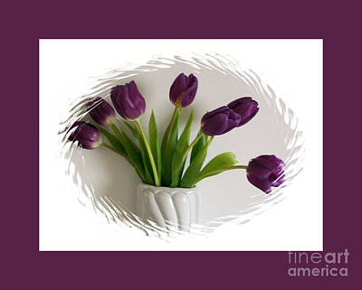 Purple Tulips In A Purple Frame Art Print by Marsha Heiken