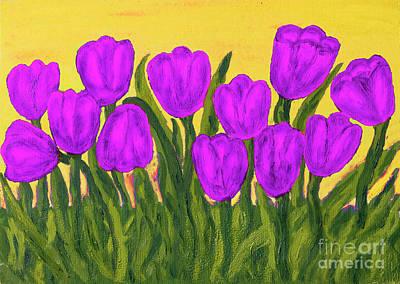 Painting - Purple Tulips, Painting by Irina Afonskaya