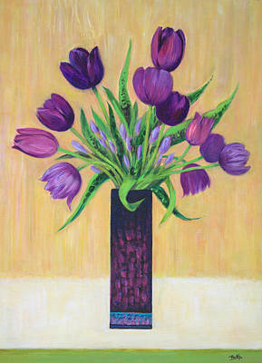 Yellow Flowers Painting - Purple Tulips by Sandra Delaney
