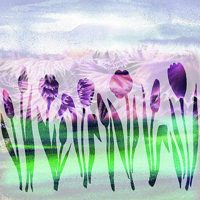 Abstract Painting - Purple Tulips Watercolor Silhouette by Irina Sztukowski