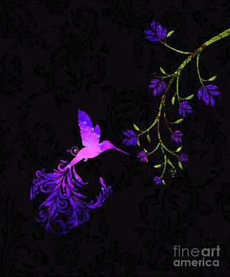 Flourishes Drawing - Purple Twilight Hummingbird Nature Batik by Tina Lavoie