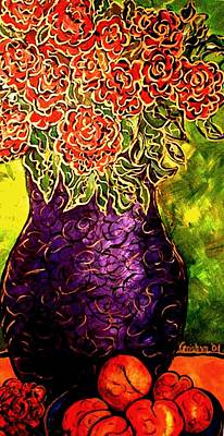 Art Print featuring the painting Purple Vase by Laura  Grisham