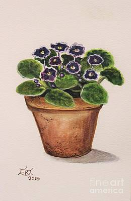 Garden Wall Art - Painting - Purple Violets by Elizabeth Robinette Tyndall