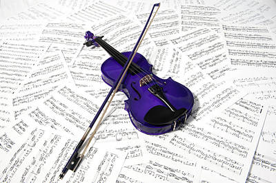 Music Royalty-Free and Rights-Managed Images - Purple Violin and Music by Helen Northcott