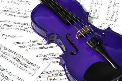 Music Royalty-Free and Rights-Managed Images - Purple Violin and Music ii by Helen Northcott