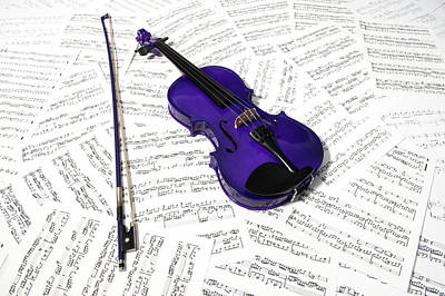 Music Royalty-Free and Rights-Managed Images - Purple Violin and Music iii by Helen Northcott