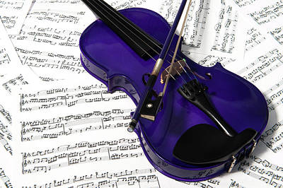 Music Royalty-Free and Rights-Managed Images - Purple Violin and Music iv by Helen Northcott