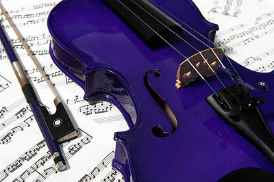 Purple Violin And Music V Art Print