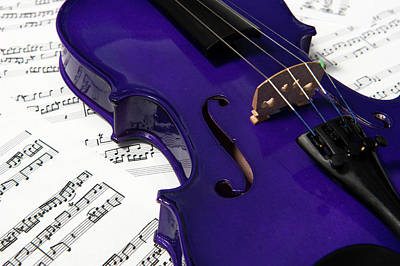 Music Royalty-Free and Rights-Managed Images - Purple Violin and Music vi by Helen Northcott