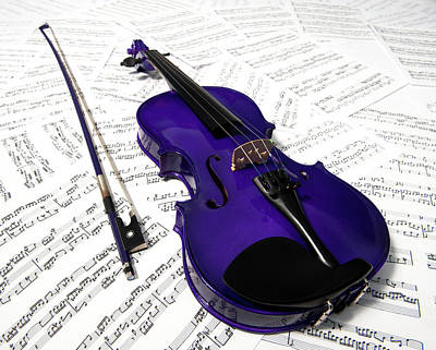 Music Royalty-Free and Rights-Managed Images - Purple Violin and Music vii by Helen Northcott