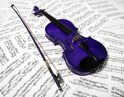 Music Royalty-Free and Rights-Managed Images - Purple Violin and Music viii by Helen Northcott