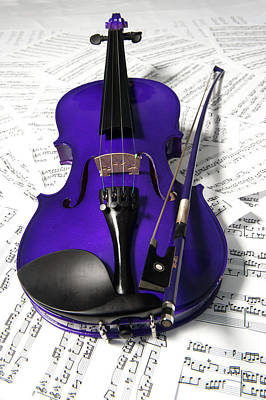 Photograph - Purple Violin And Music X by Helen Northcott