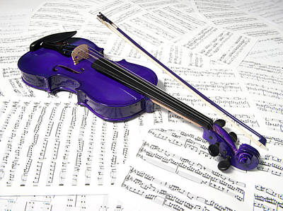 Photograph - Purple Violin And Music Xiv by Helen Northcott
