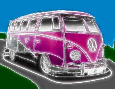 Hippie Van Digital Art - Purple Vw Bus by Paul Van Scott