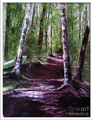 Art Print featuring the painting Purple Walk by Sibby S