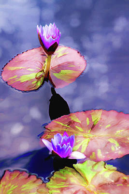 Digital Art - Purple Water Lilies by Mike Braun