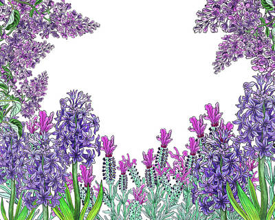 Hyacinths Wall Art - Painting - Purple Watercolor Flowers Garden Pattern by Irina Sztukowski