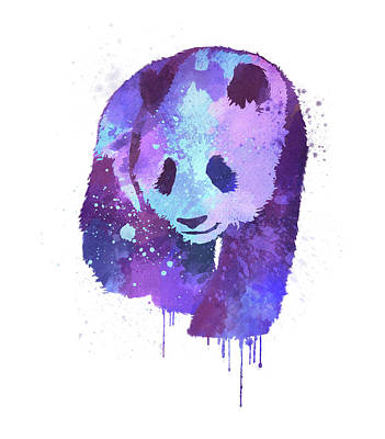 Splashy Digital Art - Purple Watercolor Panda by Thubakabra