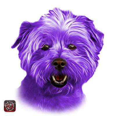 Mixed Media - Purple West Highland Terrier Mix - 8674 - Wb by James Ahn