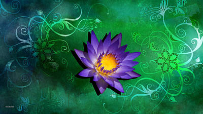 Photograph - Purple Yellow Water Lily On A Green Background by Gary Crockett