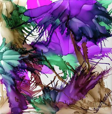 Splashy Art Painting - Purple Peacock  by Jo Ann Bossems