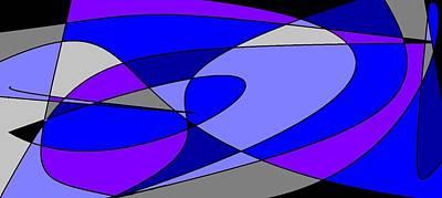 Digital Art - Purples, Blues, Greys Swirl by Linda Velasquez