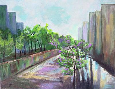 Painting - Purple Tree In Spring Rain by Haleh Mahbod