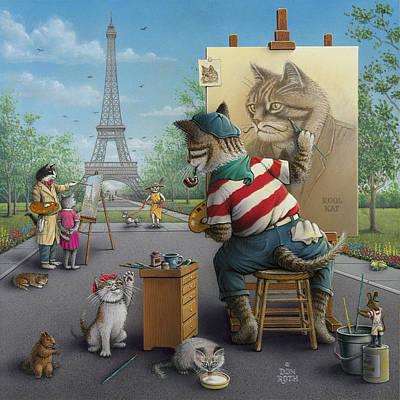 Painting - Purr-fect Paris Portrait by Don Roth