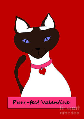 Digital Art - Purr-fect Valentine by Kathi Shotwell