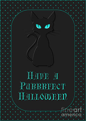 Digital Art - Purrrfect Kitty Halloween by JH Designs