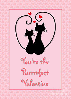 Digital Art - Purrrrfect Valentine by JH Designs
