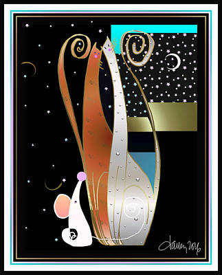 Digital Art - Purry Purry Night by Larry Talley