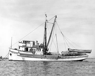 Photograph - Purse Seiner City Of Montey At Anchor In Monterey Harbor Circa 1938 by California Views Mr Pat Hathaway Archives