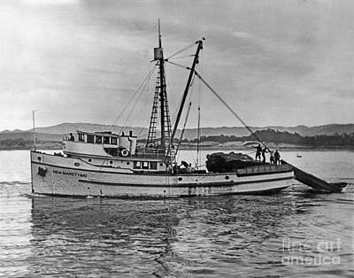 Photograph - Purse Seiner New Marettimo Going Out On Monterey Bay 1940 by California Views Mr Pat Hathaway Archives