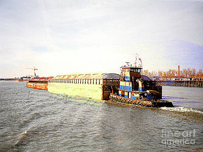 Photograph - Push Boat And Barges On The Mississippi River Near New Orleans by Merton Allen