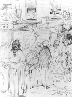 Tenement Drawing - Pushcarts And Tenements by Jerome Myers