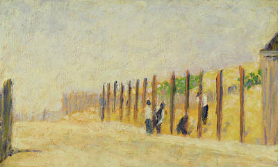 Erect Painting - Pushing In The Poles by Georges Pierre Seurat