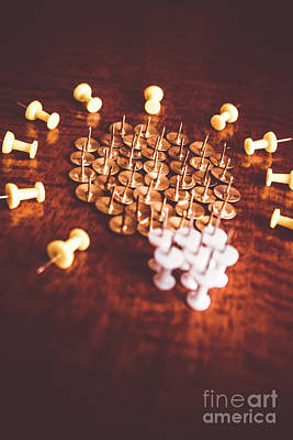 Selective Focus Photograph - Pushpins And Thumbtacks Arranged As Light Bulb by Jorgo Photography - Wall Art Gallery