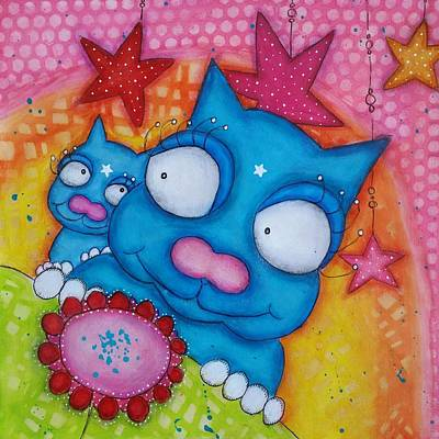 Mixed Media - Puss And Cat by Barbara Orenya