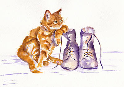 Tabby Cat Painting - Puss 'n Boots by Debra Hall