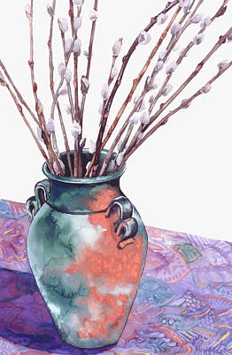 Pussy Willows Bouquet Art Print by Caron Sloan Zuger