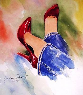 Fancy Shoes Painting - Put On Your Red Shoes by Jennie Samuel