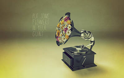 Disco Mixed Media - Put Some Flowers In Your Guns by Mauro Mondin