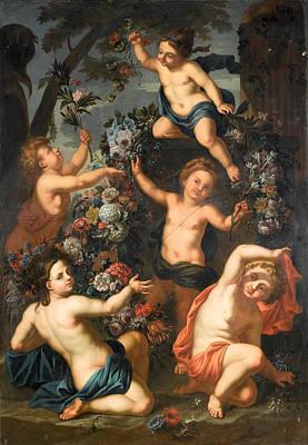 Painting - Putti Amid Garlands Of Flowers Beside A Stone Urn by Gaspar Pieter Verbruggen