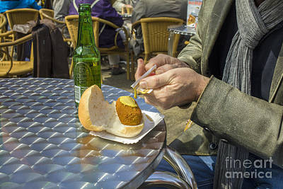 Fry Bread Photograph - Putting Musterd On A Meat Croquette by Patricia Hofmeester