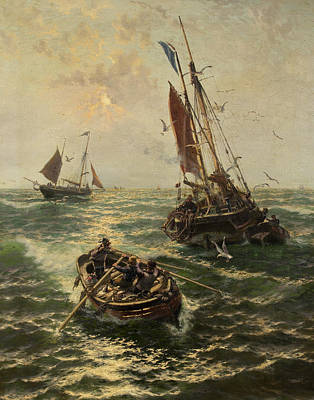 Flying Seagull Painting - Putting The Catch Ashore by Thomas Rose Miles