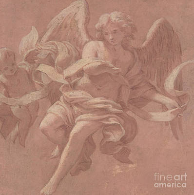 Putto And Angel Holding A Banderole, 1706  Art Print by Antonio Franchi