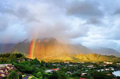 Puu Alii With Rainbow Art Print by Dan McManus